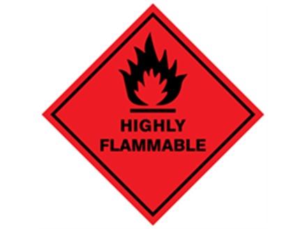 Highly flammable hazard warning diamond label, magnetic