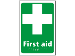 First aid text and symbol sign.