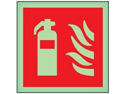 Fire extinguisher symbol photoluminescent safety sign
