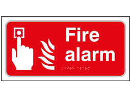 Fire alarm text and symbol sign.