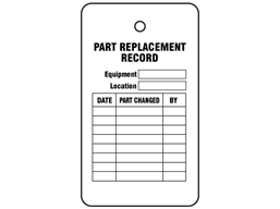 Part replacement record tag.