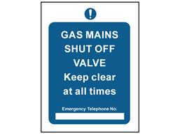 Gas mains shut off safety sign.