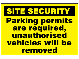 Parking permits are required, unauthorised vehicles will be removed sign