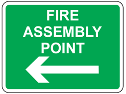 Fire assembly point, arrow left sign