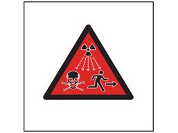 Radiation hazard public warning symbol safety sign.