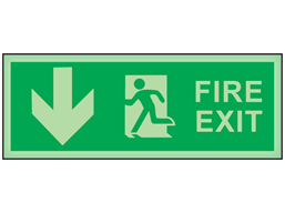 Fire exit, arrow down photoluminescent safety sign