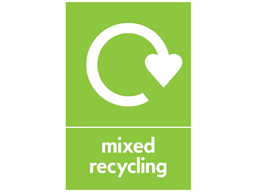 Mixed recycling WRAP recycling signs