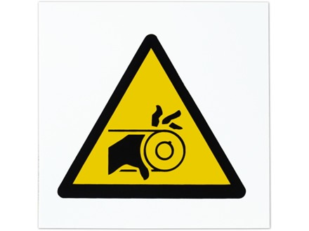 Moving belt hazard symbol safety sign.