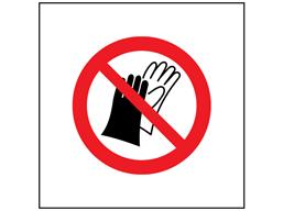 Do not wear gloves symbol safety sign.