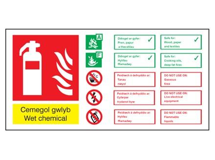Cemegol gwlyb / Wet chemical extinguisher safety sign.