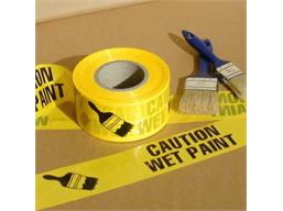 Caution wet paint barrier tape