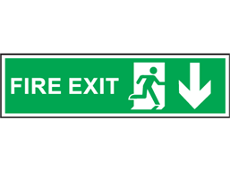 Fire exit arrow down symbol and text safety sign.