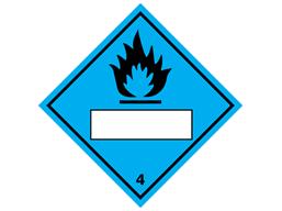Dangerous when wet, class 4, hazard diamond label (with write on panel)