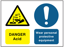 Danger Acid, Wear personal protective equipment safety sign.