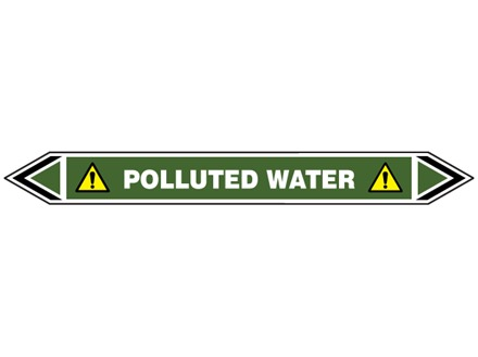 Polluted water flow marker label.