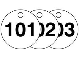 Plastic valve tags, numbered 101-125