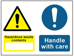 COSHH. Hazardous waste contents, Handle with care sign.