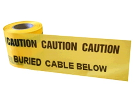 Caution buried cable below tape.