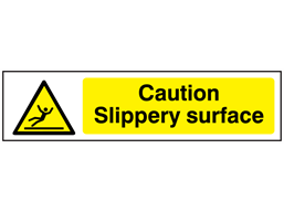 Caution Slippery surface, mini safety sign.