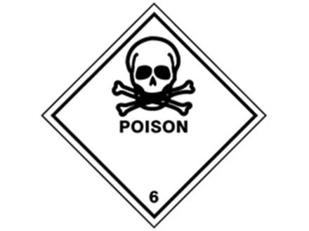 Poison 6 hazard warning diamond sign