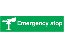 Emergency stop, mini safety sign.