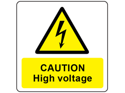 Caution high voltage symbol and text safety label.