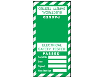 Electrical safety tested, passed cable wrap label.