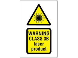 Warning Class 3B laser product symbol and text safety sign.