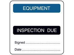 Equipment, inspection due combination label.