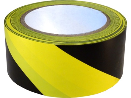 Safety and floor marking tape, black and yellow chevron.