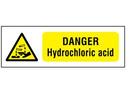 Danger hydrochloric acid safety sign.