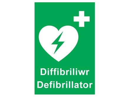 Diffibriliwr, Defibrillator. Welsh English sign.
