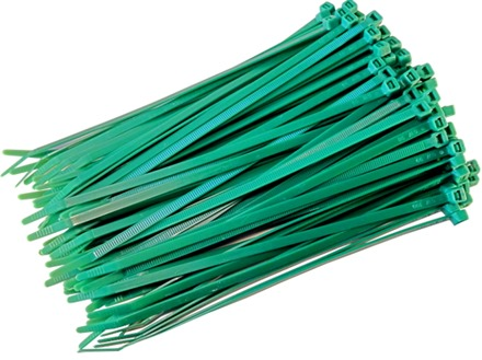 Plain nylon cable ties, green