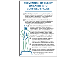 Prevention of injury on entry into confined spaces safety sign.