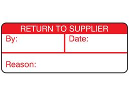 Return to supplier label