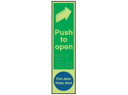 Push door to open / fire door keep shut fingerplate photoluminescent sign.
