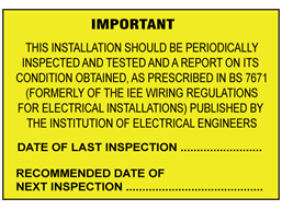 Installation inspection BS 7671 label
