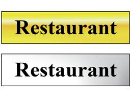 Restaurant metal doorplate