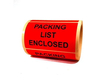 Packing list enclosed labels
