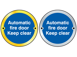 Automatic fire door keep clear symbol door sign.