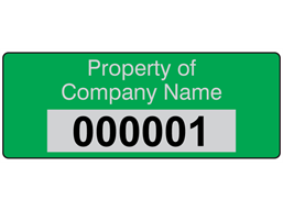 Assetmark foil serial number label (text on colour), 19mm x 50mm