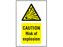 Caution Risk of explosion symbol and text safety sign.