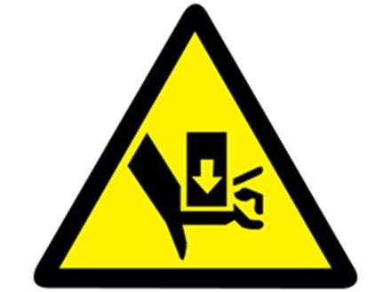 Crush hazard warning symbol label.