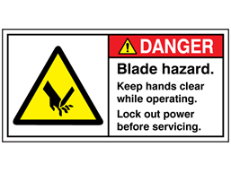 Danger blade hazard keep hands clear while operating label