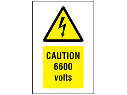 Caution 6600 volts symbol and text safety sign.