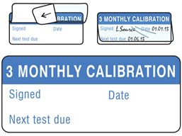 3 monthly calibration write and seal labels