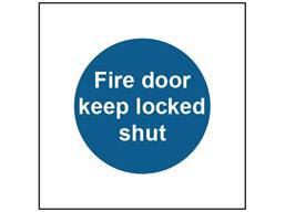 Fire door keep locked shut safety sign.