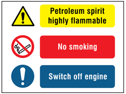 Petroleum spirit highly flammable, No smoking, Switch off engine safety sign.