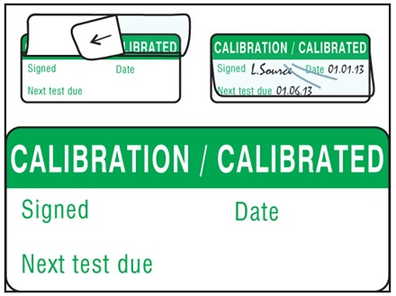 Calibration, calibrated write and seal labels.