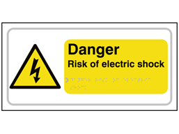Danger Risk of electric shock text and symbol sign.